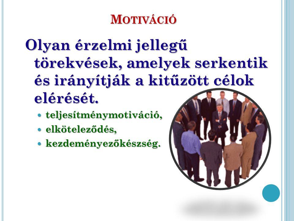 Motiváció Olyan érzelmi jellegű törekvések, amelyek serkentik és irányítják a kitűzött célok elérését.