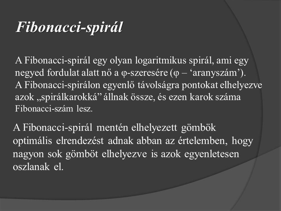 Fibonacci-spirál A Fibonacci-spirál egy olyan logaritmikus spirál, ami egy negyed fordulat alatt nő a φ-szeresére (φ – 'aranyszám').