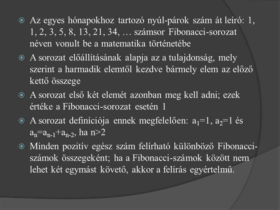 Az egyes hónapokhoz tartozó nyúl-párok szám át leíró: 1, 1, 2, 3, 5, 8, 13, 21, 34, … számsor Fibonacci-sorozat néven vonult be a matematika történetébe