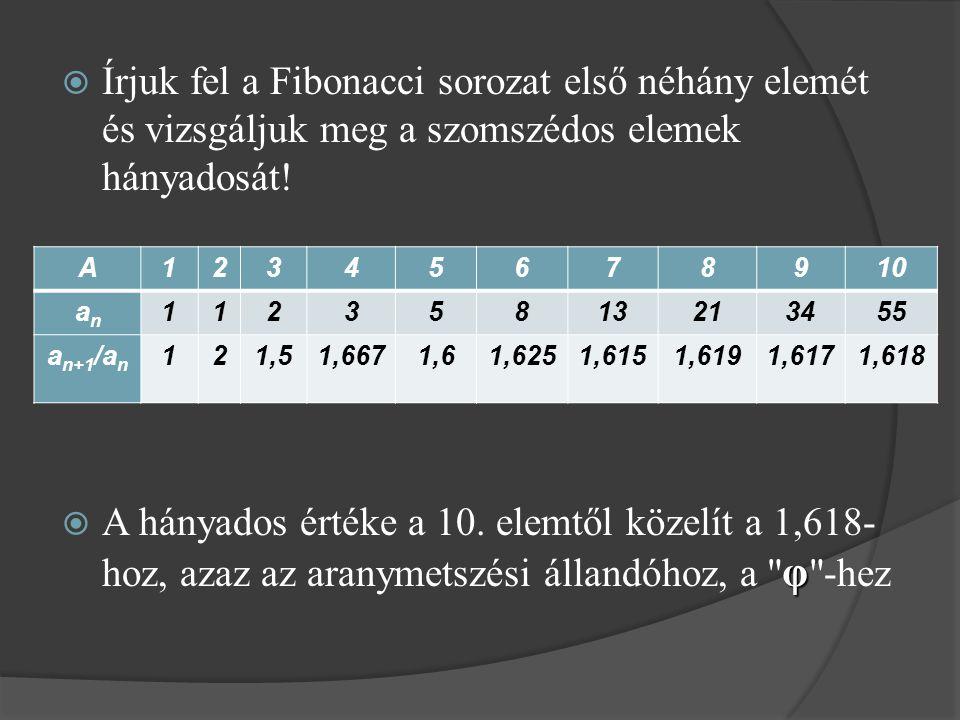 Írjuk fel a Fibonacci sorozat első néhány elemét és vizsgáljuk meg a szomszédos elemek hányadosát!
