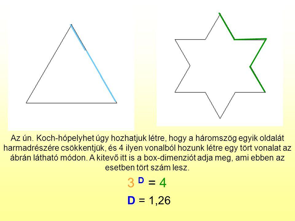Az ún. Koch-hópelyhet úgy hozhatjuk létre, hogy a háromszög egyik oldalát harmadrészére csökkentjük, és 4 ilyen vonalból hozunk létre egy tört vonalat az ábrán látható módon. A kitevő itt is a box-dimenziót adja meg, ami ebben az esetben tört szám lesz.