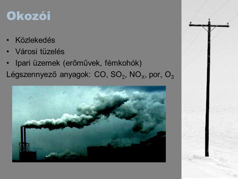 Okozói Közlekedés Városi tüzelés Ipari üzemek (erőművek, fémkohók)