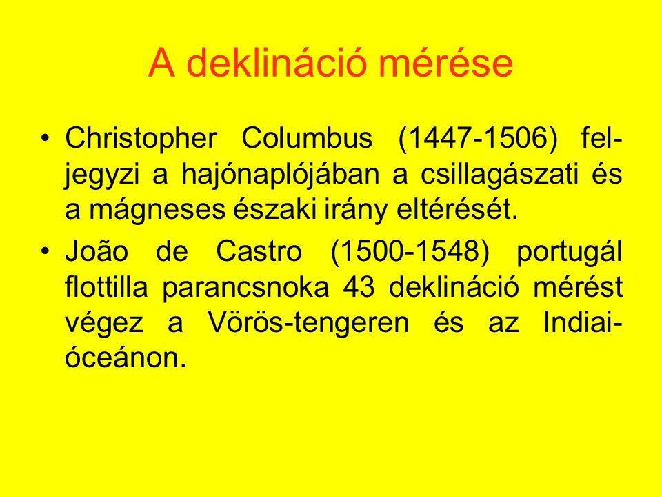 A deklináció mérése Christopher Columbus (1447-1506) fel-jegyzi a hajónaplójában a csillagászati és a mágneses északi irány eltérését.