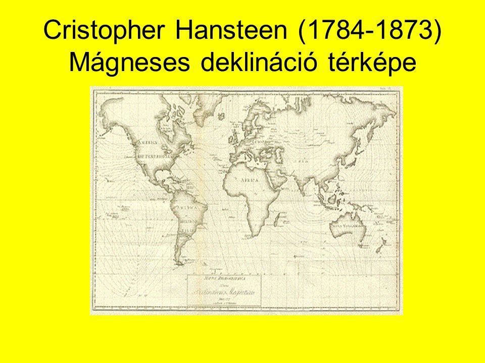 Cristopher Hansteen (1784-1873) Mágneses deklináció térképe