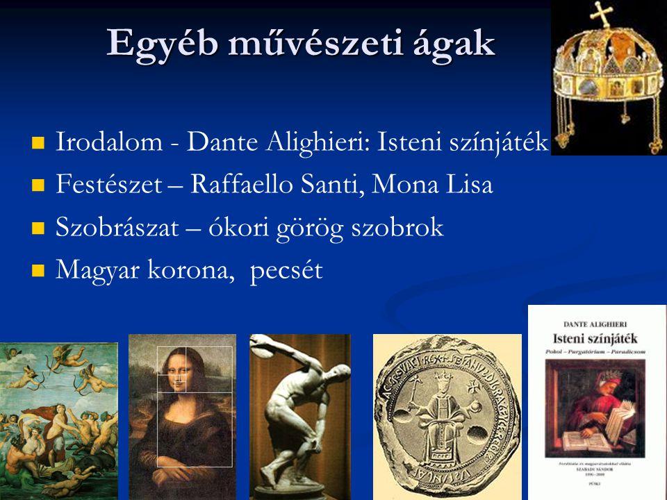 Egyéb művészeti ágak Irodalom - Dante Alighieri: Isteni színjáték
