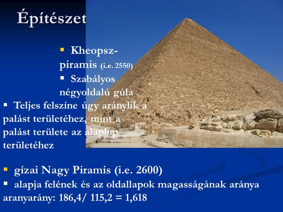 Építészet Kheopsz-piramis (i.e. 2550) Szabályos négyoldalú gúla