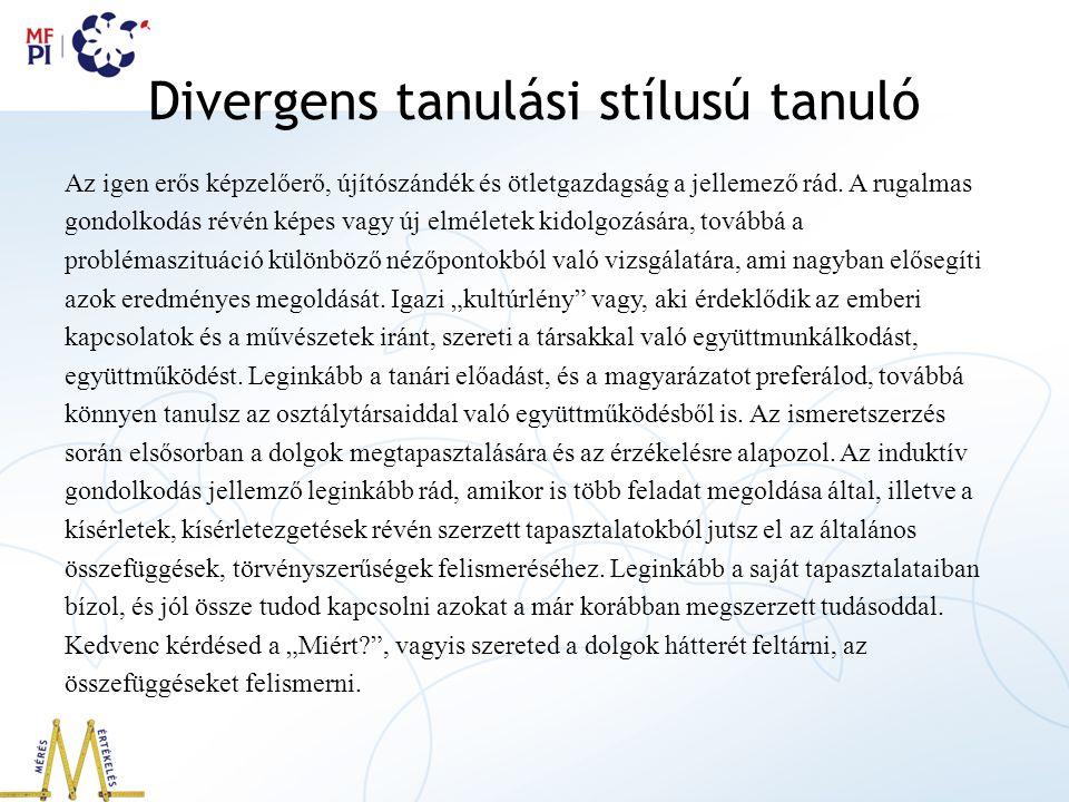 Divergens tanulási stílusú tanuló
