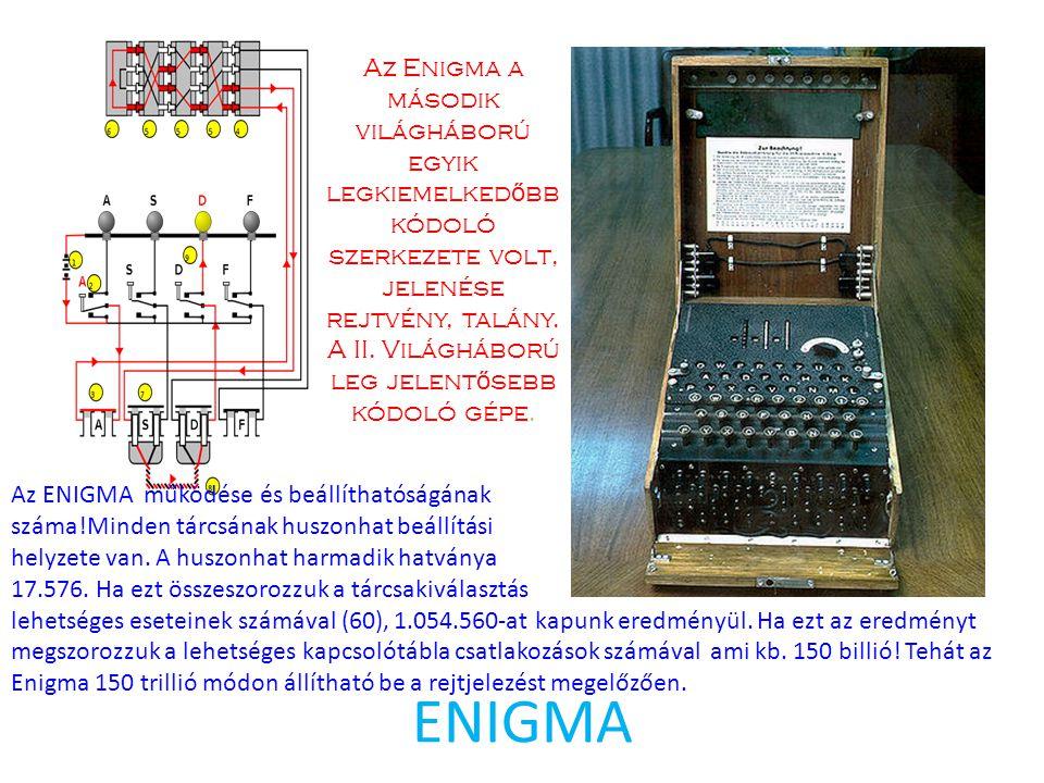 Az Enigma a második világháború egyik legkiemelkedőbb kódoló szerkezete volt, jelenése rejtvény, talány. A II. Világháború leg jelentősebb kódoló gépe.