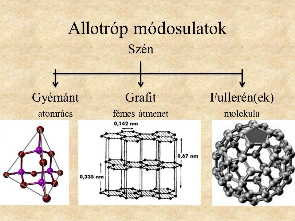 Allotróp módosulatok Szén Gyémánt Grafit Fullerén(ek) atomrács