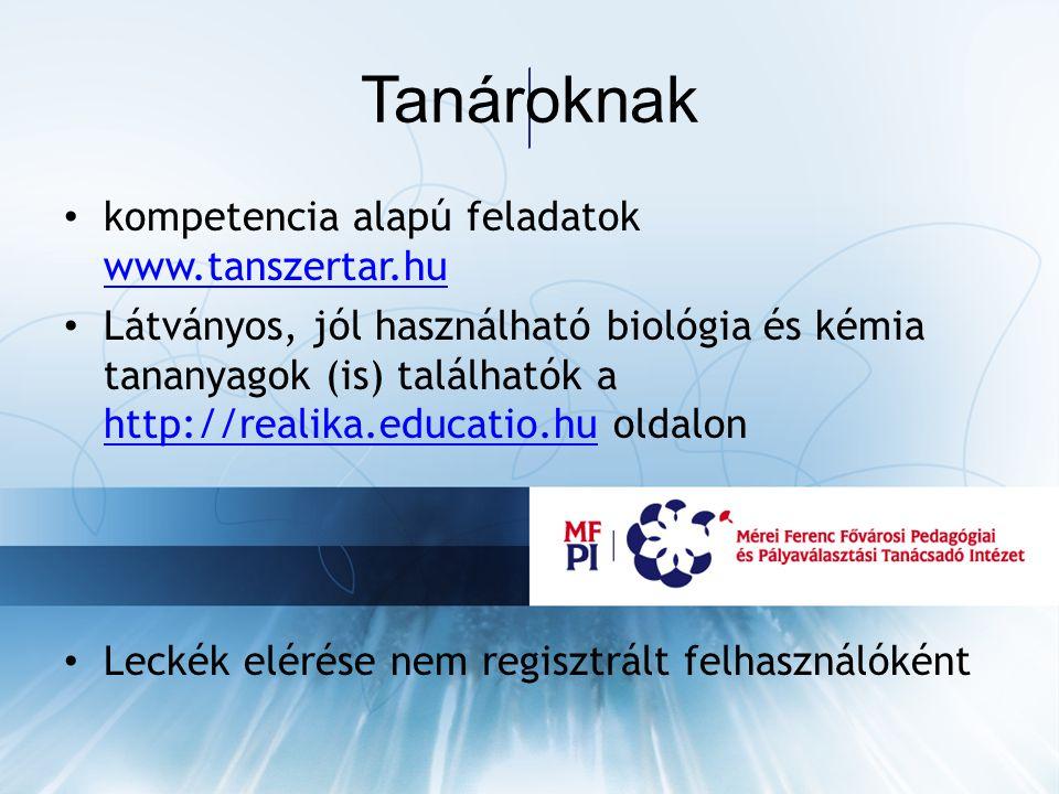 Tanároknak kompetencia alapú feladatok www.tanszertar.hu