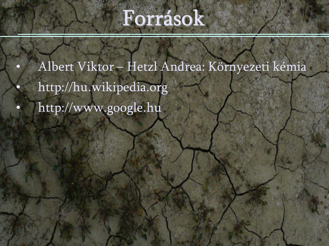 Források Albert Viktor – Hetzl Andrea: Környezeti kémia
