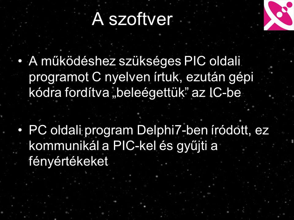 """A szoftver A működéshez szükséges PIC oldali programot C nyelven írtuk, ezután gépi kódra fordítva """"beleégettük az IC-be."""