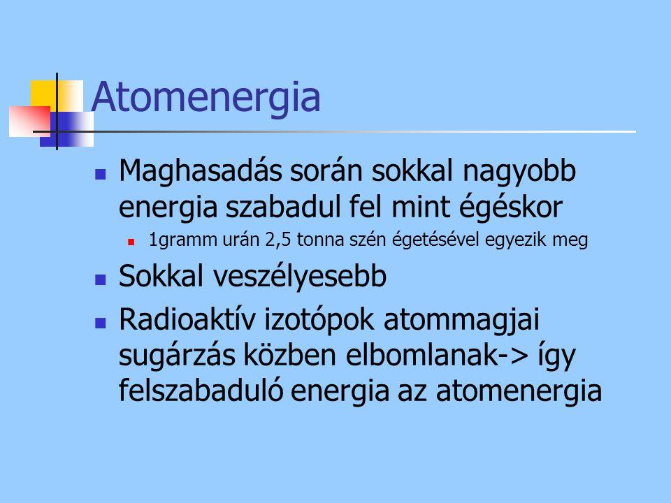 Atomenergia Maghasadás során sokkal nagyobb energia szabadul fel mint égéskor. 1gramm urán 2,5 tonna szén égetésével egyezik meg.