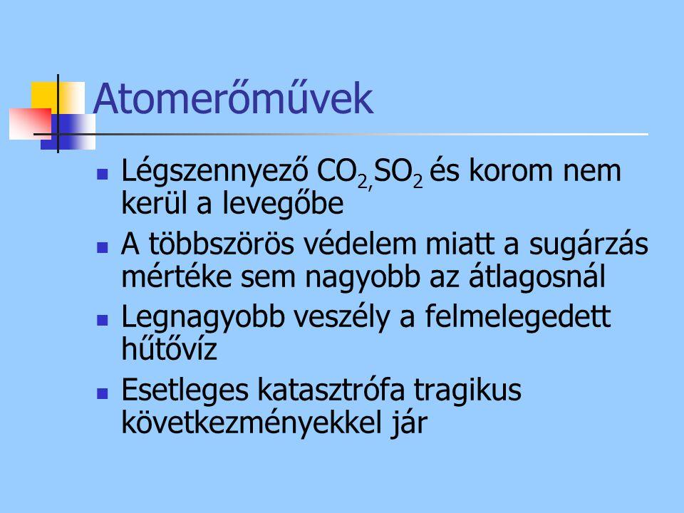 Atomerőművek Légszennyező CO2,SO2 és korom nem kerül a levegőbe