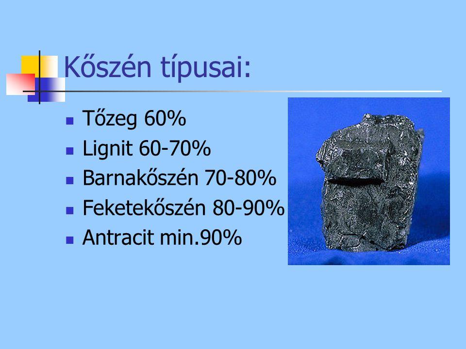 Kőszén típusai: Tőzeg 60% Lignit 60-70% Barnakőszén 70-80%