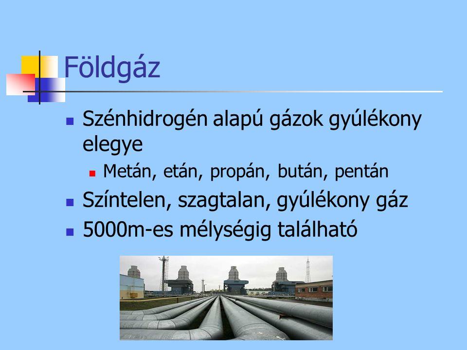 Földgáz Szénhidrogén alapú gázok gyúlékony elegye