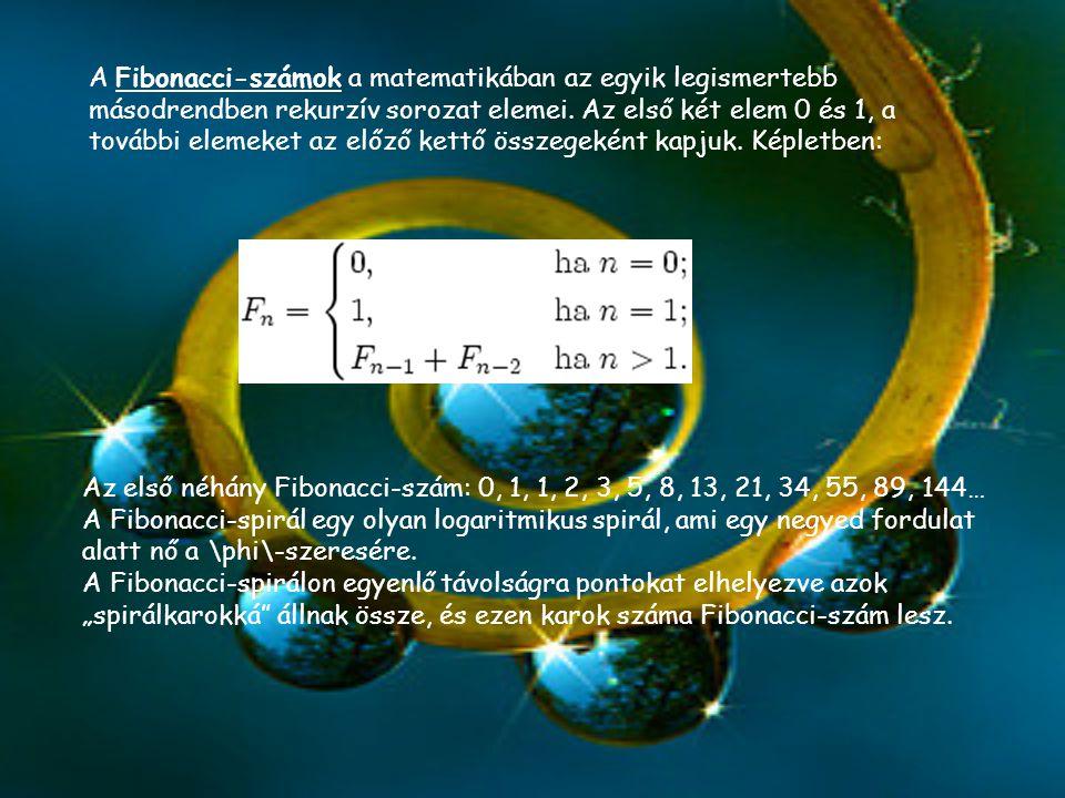 A Fibonacci-számok a matematikában az egyik legismertebb másodrendben rekurzív sorozat elemei. Az első két elem 0 és 1, a további elemeket az előző kettő összegeként kapjuk. Képletben: