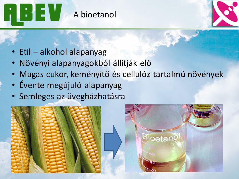 A bioetanol Etil – alkohol alapanyag. Növényi alapanyagokból állítják elő. Magas cukor, keményítő és cellulóz tartalmú növények.