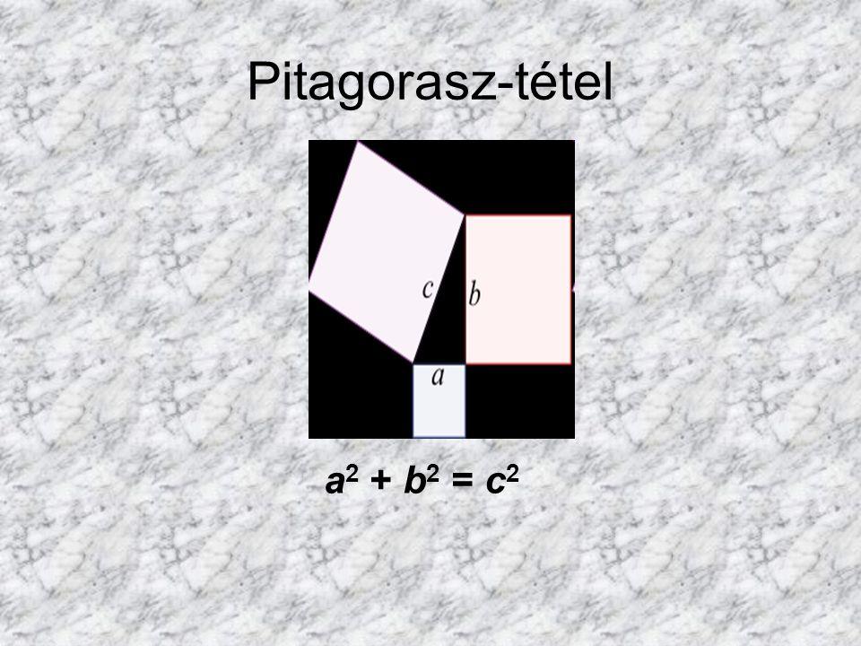 Pitagorasz-tétel a2 + b2 = c2