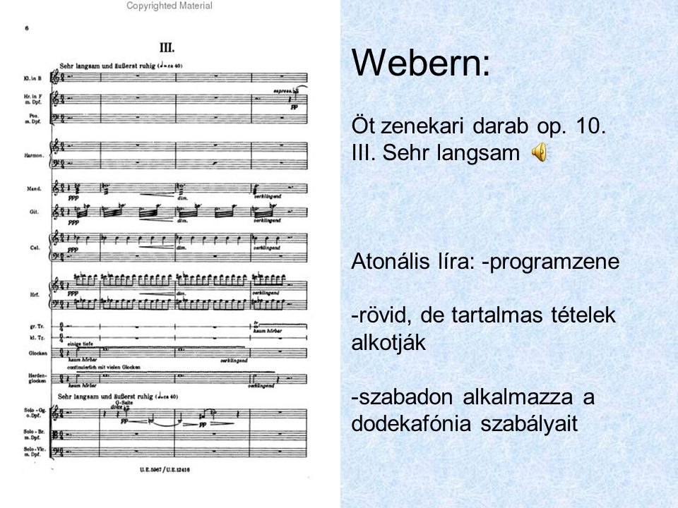Webern: Öt zenekari darab op. 10. III. Sehr langsam