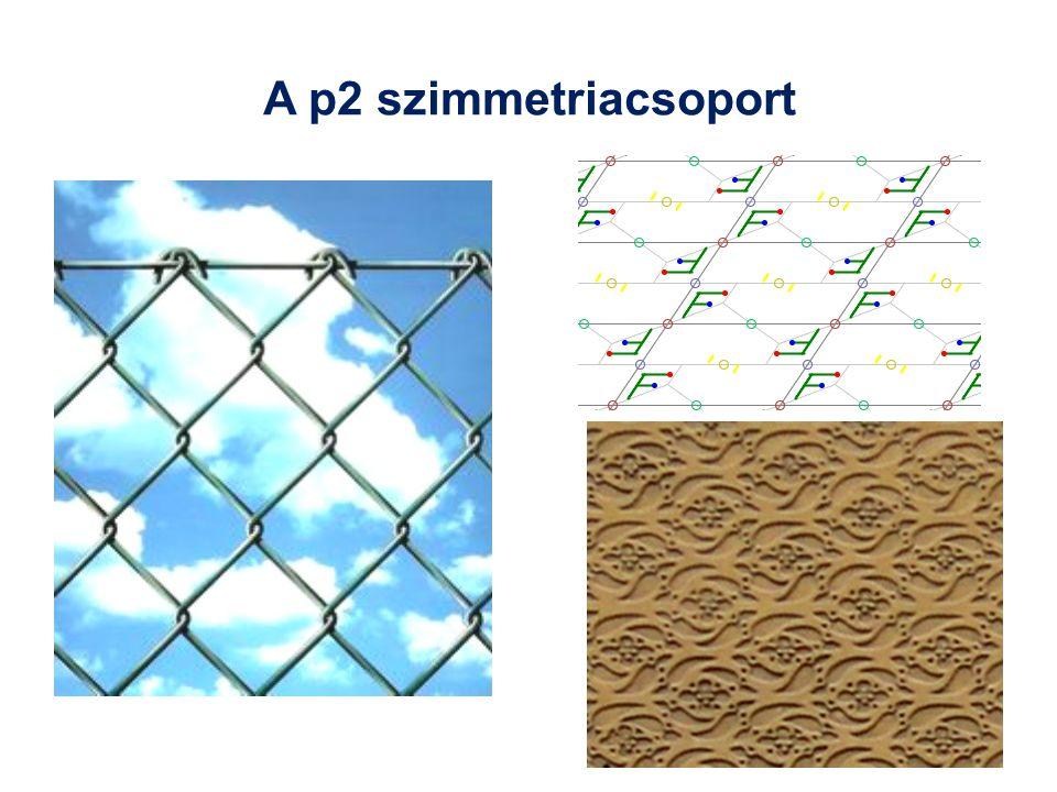A p2 szimmetriacsoport A két eltoláson kívül másodrendű forgatások is vannak: p2. Ilyen szimmetriája van pl. a hagyományos drótkerítésnek is.