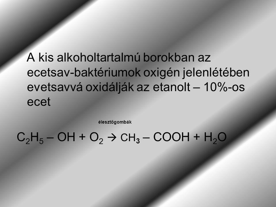 A kis alkoholtartalmú borokban az ecetsav-baktériumok oxigén jelenlétében evetsavvá oxidálják az etanolt – 10%-os ecet