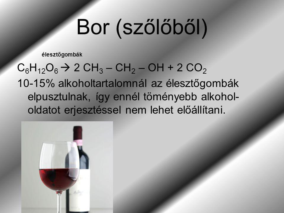 Bor (szőlőből) C6H12O6  2 CH3 – CH2 – OH + 2 CO2