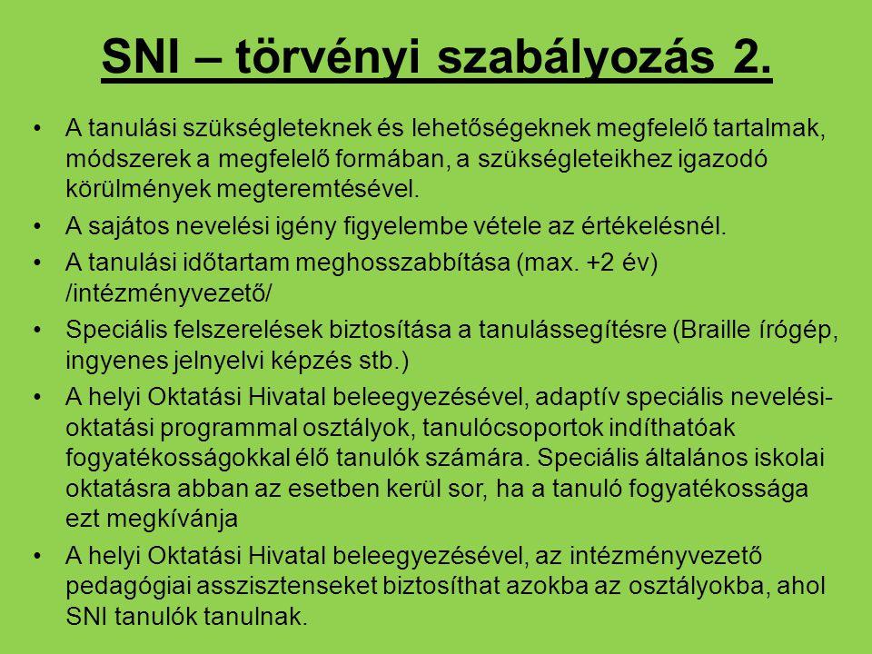 SNI – törvényi szabályozás 2.
