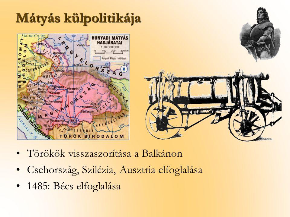Mátyás külpolitikája Törökök visszaszorítása a Balkánon