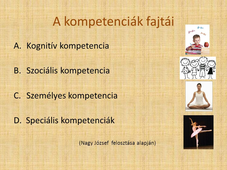 A kompetenciák fajtái Kognitív kompetencia Szociális kompetencia