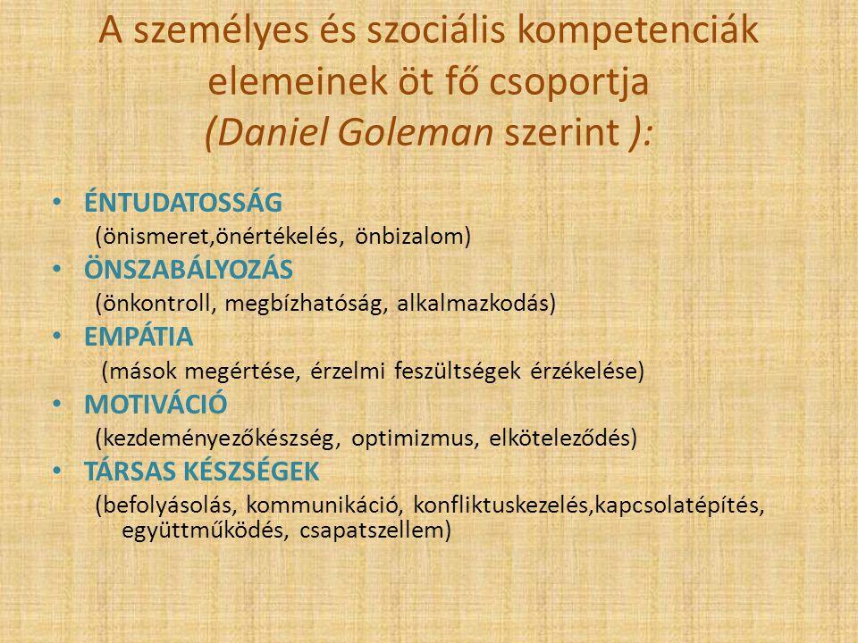 A személyes és szociális kompetenciák elemeinek öt fő csoportja (Daniel Goleman szerint ):