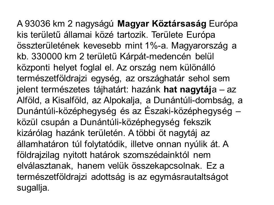 A 93036 km 2 nagyságú Magyar Köztársaság Európa kis területű államai közé tartozik.