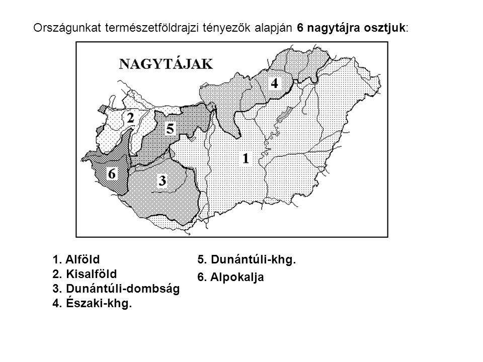 Országunkat természetföldrajzi tényezők alapján 6 nagytájra osztjuk: