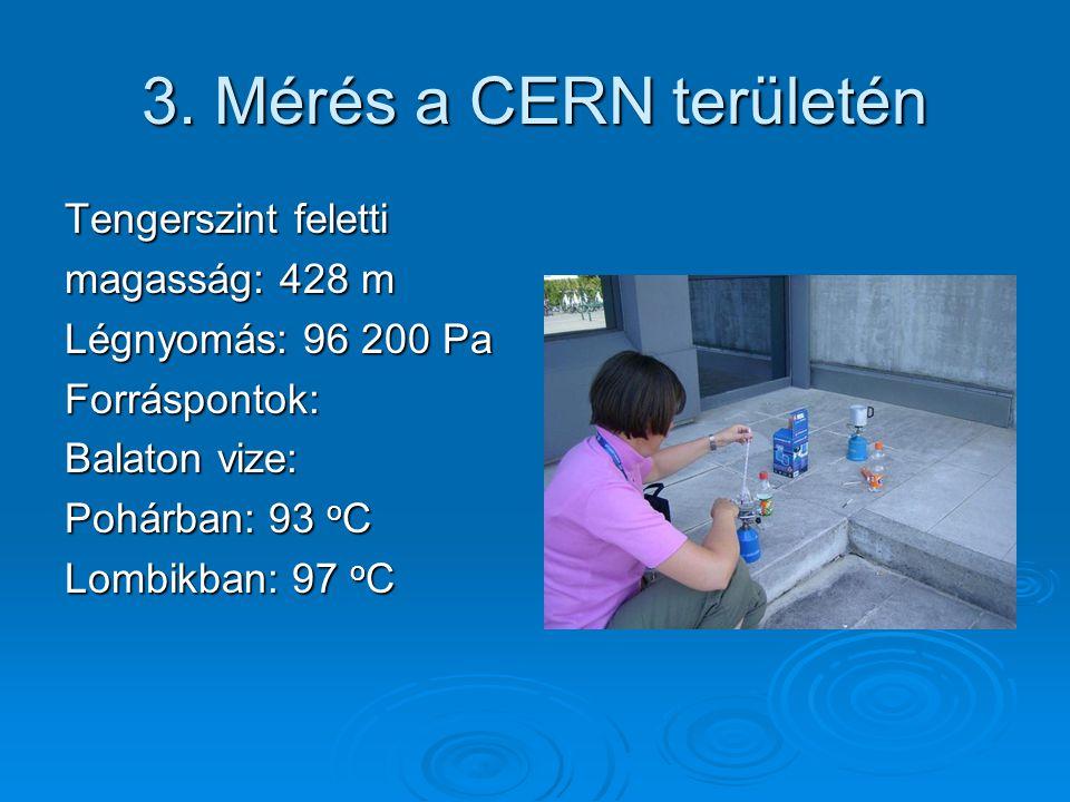 3. Mérés a CERN területén Tengerszint feletti magasság: 428 m