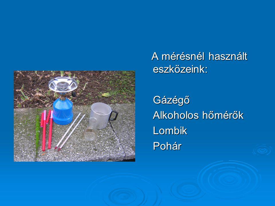 A mérésnél használt eszközeink: