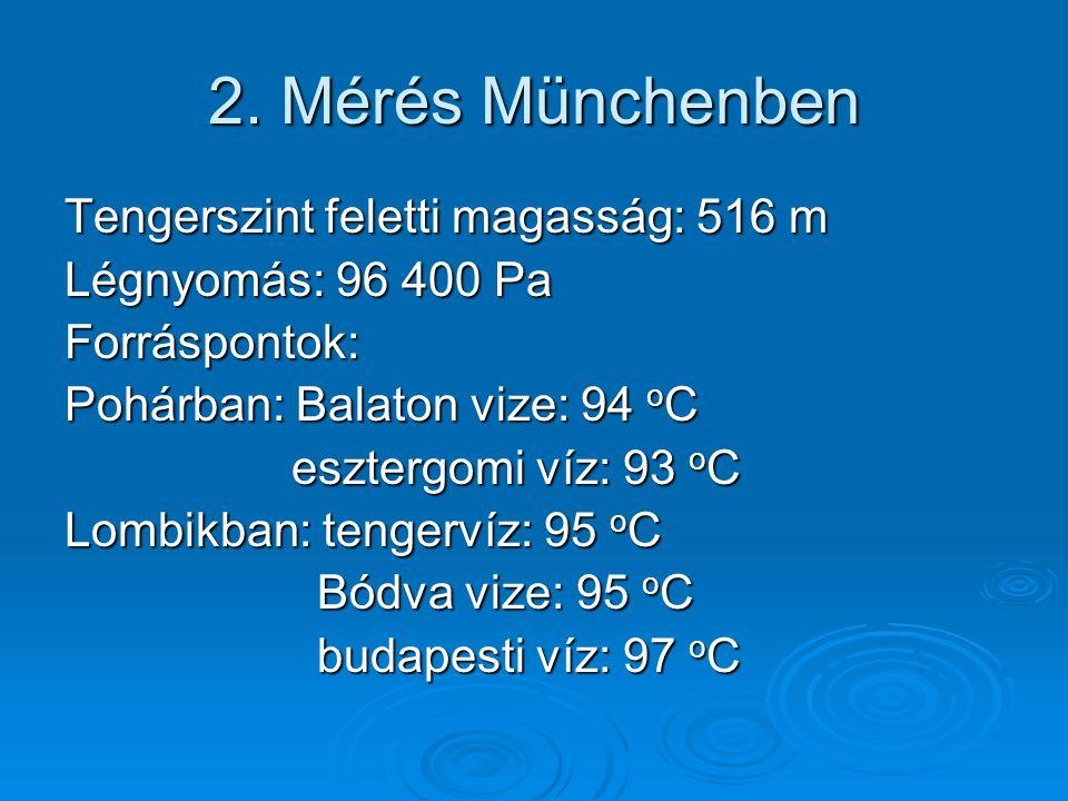 2. Mérés Münchenben Tengerszint feletti magasság: 516 m