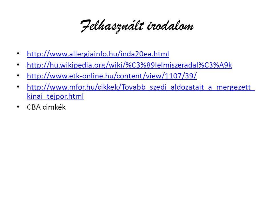 Felhasznált irodalom http://www.allergiainfo.hu/inda20ea.html