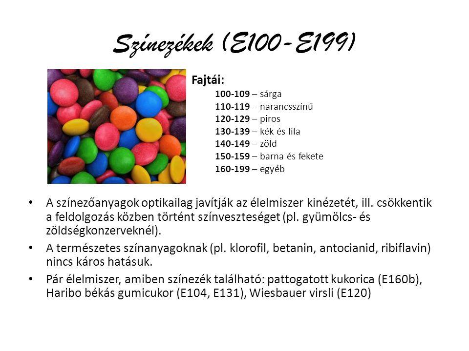 Színezékek (E100-E199) Fajtái: