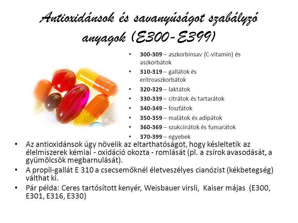 Antioxidánsok és savanyúságot szabályzó anyagok (E300-E399)