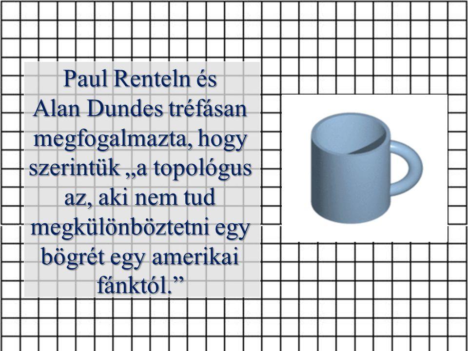 """Paul Renteln és Alan Dundes tréfásan megfogalmazta, hogy szerintük """"a topológus az, aki nem tud megkülönböztetni egy bögrét egy amerikai fánktól."""