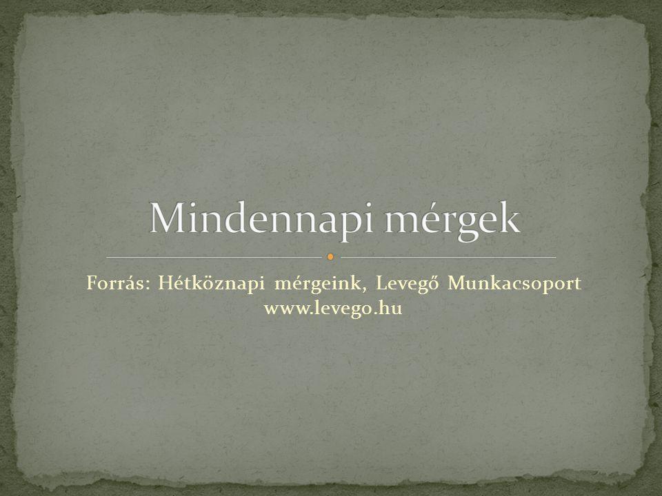 Forrás: Hétköznapi mérgeink, Levegő Munkacsoport www.levego.hu