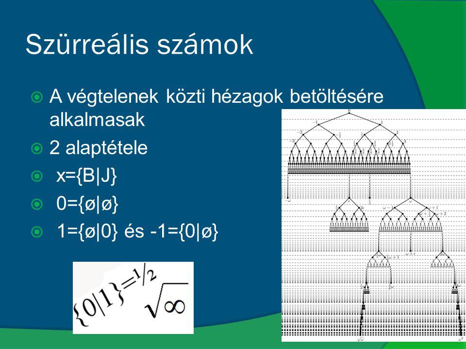 Szürreális számok A végtelenek közti hézagok betöltésére alkalmasak