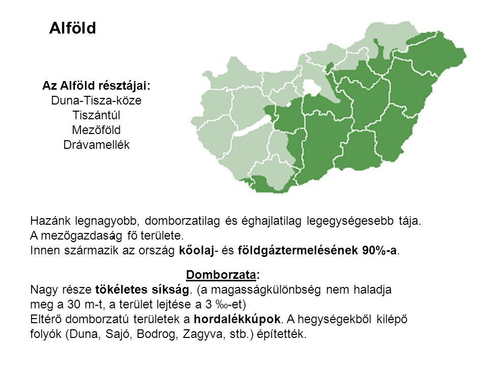 Alföld Az Alföld résztájai: Duna-Tisza-köze Tiszántúl Mezőföld