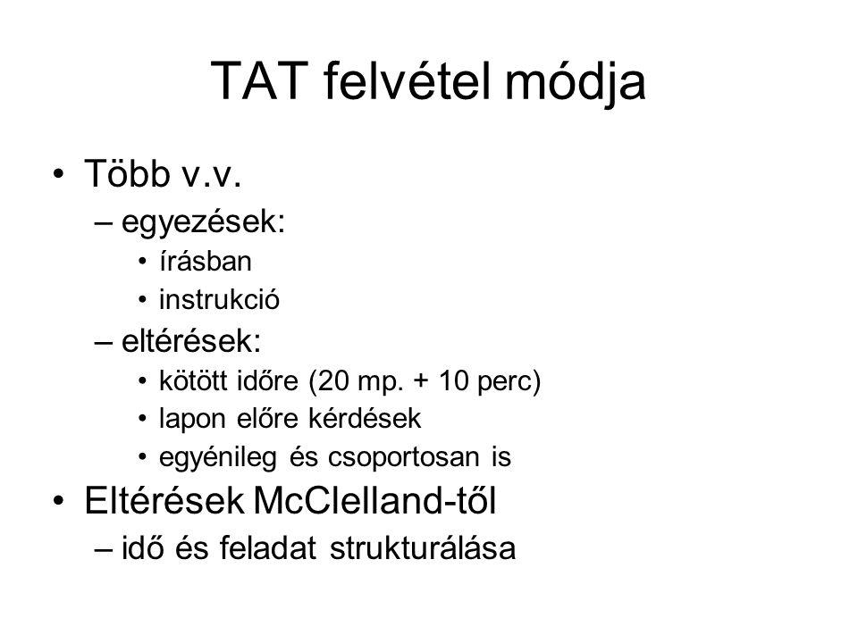TAT felvétel módja Több v.v. Eltérések McClelland-től egyezések: