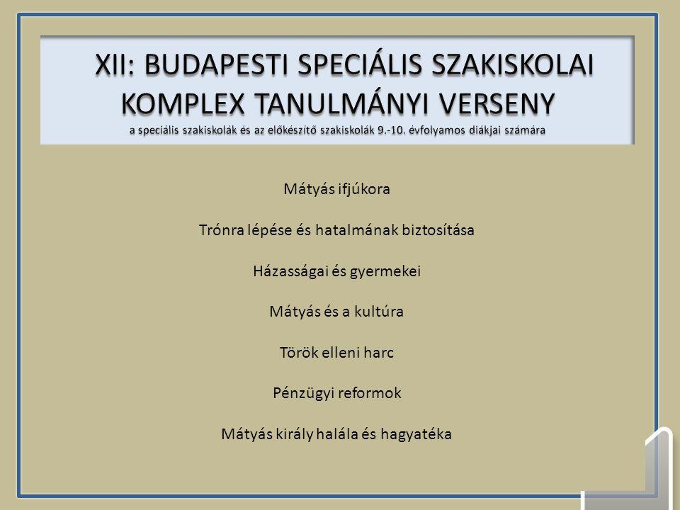 XII: BUDAPESTI SPECIÁLIS SZAKISKOLAI KOMPLEX TANULMÁNYI VERSENY a speciális szakiskolák és az előkészítő szakiskolák 9.-10. évfolyamos diákjai számára