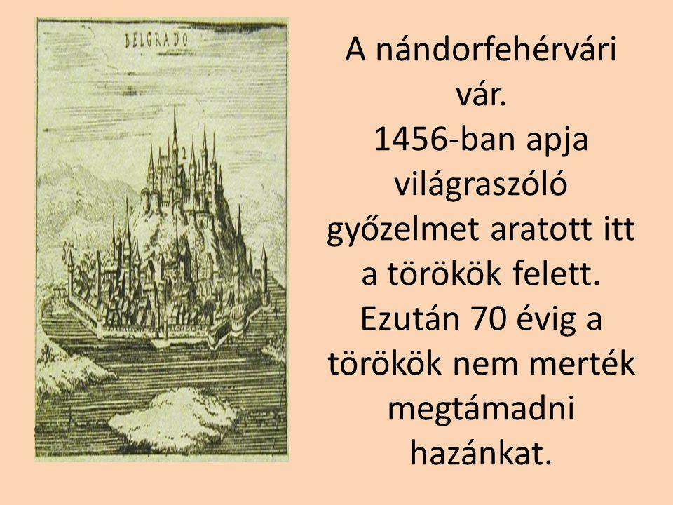 A nándorfehérvári vár. 1456-ban apja világraszóló győzelmet aratott itt a törökök felett.