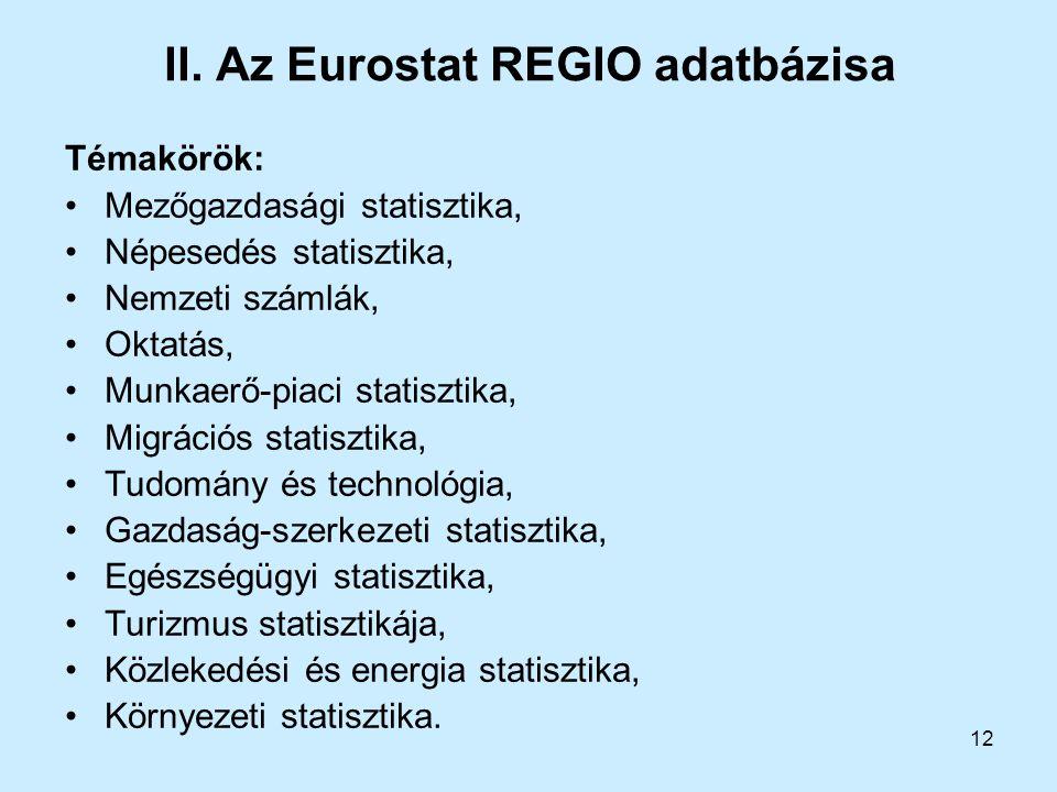 II. Az Eurostat REGIO adatbázisa