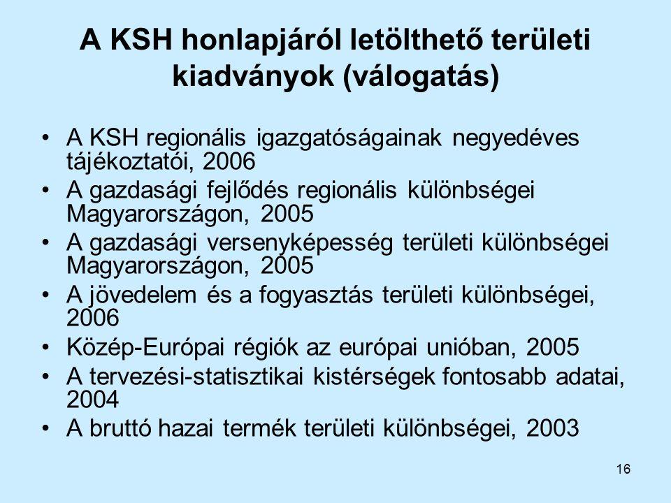 A KSH honlapjáról letölthető területi kiadványok (válogatás)