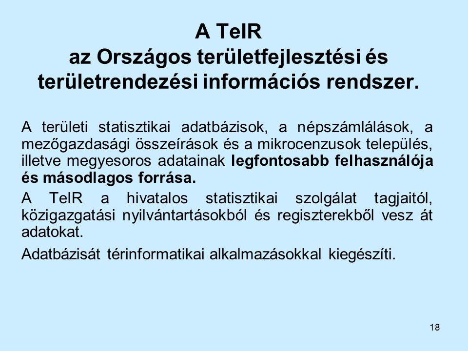 A TeIR az Országos területfejlesztési és területrendezési információs rendszer.