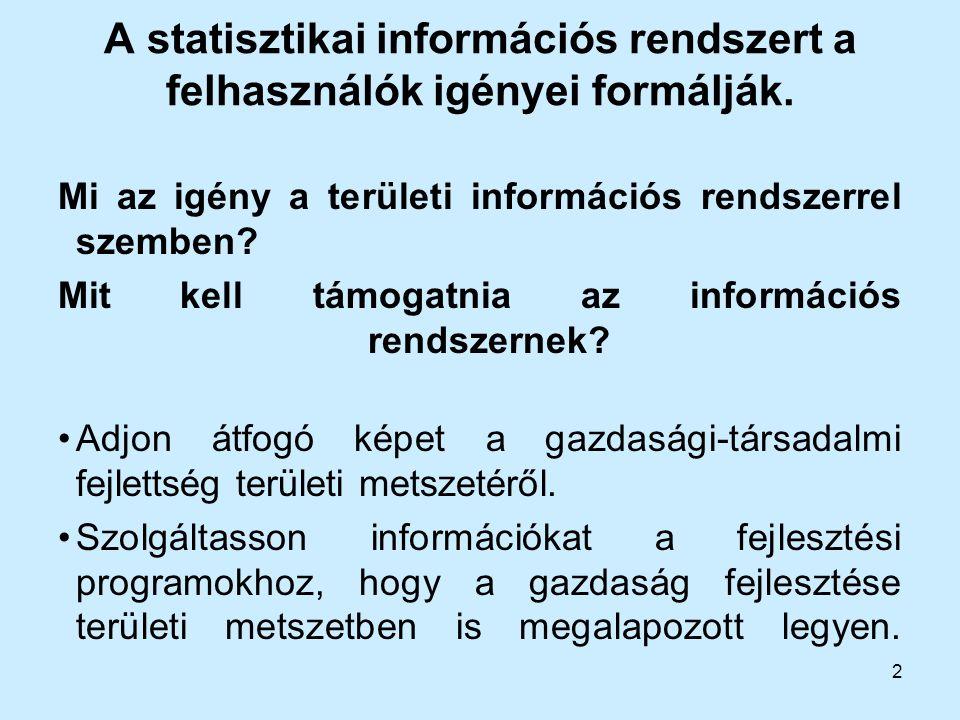 A statisztikai információs rendszert a felhasználók igényei formálják.